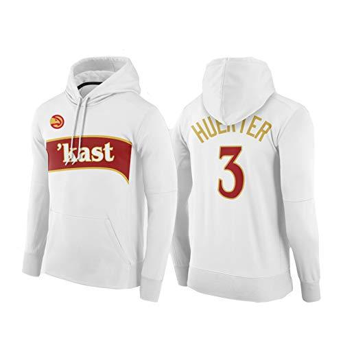 USSU Huěrtěr Hǎwks 3# Sudadera con capucha de baloncesto de manga larga con bolsillo canguro uniforme de entrenamiento de baloncesto ropa retro atlética, transpirable, competencia blanca-XS
