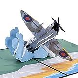 Cardology Spitfire Carte d'anniversaire pop-up Motif avion de guerre