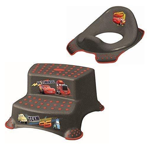 2er Set Z Disney Cars metallic WC Aufsatz + Hocker zweistufig Toilettentrainer + Waschhandschuh von KiNDERWELT