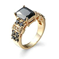 Ianlex 指輪レディースおしゃれ リング ブラック CZダイヤモンド ゴールドメッキ クラウン ラグジュアリー 指輪婚約指輪 エンゲージリング 結婚指輪 プレゼント 女性 ブラック サイズ:19