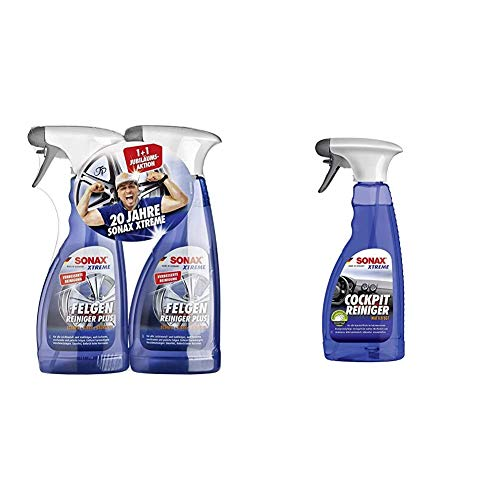 SONAX 2X Xtreme Felgenreiniger Plus (500 ml) effiziente & säurefreie Reinigung Aller Stahlfelgen & Xtreme CockpitReiniger Matteffect (500 ml) Reinigung und Pflege für alle Kunststoffoberflächen