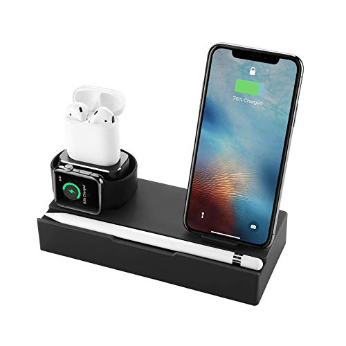 zvcv Wireless Charger Stand Aluminum 6 in 1 Multifunction Detachable Charging Dock with USB Ports for Airpods Apple Watch iPhones Mobile Phones All Qi-Enabled Device