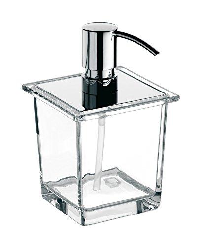 Emco Liaison Flüssigseifenspender für Reling, Kristallglas klar, Dosierpumpe Metall, ca. 365 ml, Chrom