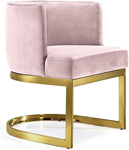 Best Meridian Furniture 718Pink-C Gianna Collection Modern | Contemporary Velvet Upholstered Dining Chair