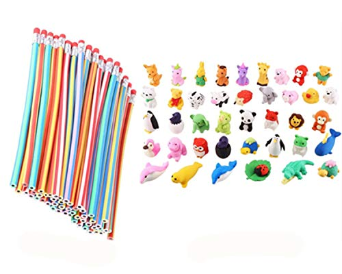 Cosoro - 20 lápices flexibles y suaves + 20 gomas de borrar de animales, gomas de borrar para la escuela, equipo divertido de bricolaje para juguetes y bolsas de fiesta para niños