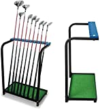 KOFULL Golf Club Organizers Metal Golf Club Display Stand Rack Durable Metal Storage 9 Clubs Golf Clubs Shelf Organizer Equipment