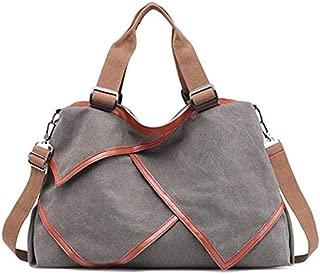 TOOGOO Multi-Functional Patchwork Canvas Handbag Large Capacity Ladies Handbag Shoulder Bag Simple Style Travel Bag Gray