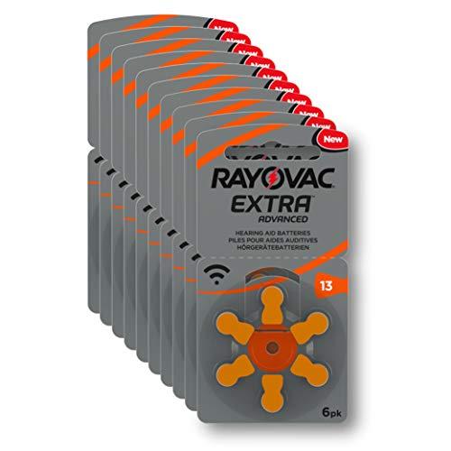 VARTA Rayovac Extra Advanced Zink Luft Hörgerätebatterie (in der Größe 13er Pack Frustfrei-Pack, mit 60 Batterien, geeignet für Hörgeräte Hörhilfen Hörverstärker) orange