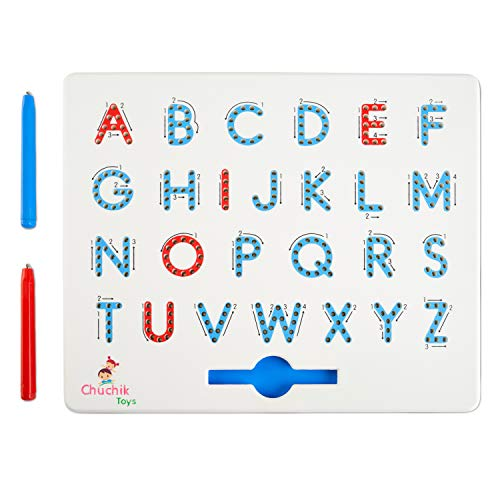 CHUCHIK Toys Magnapad Magnetic Drawing Board – Interactive Alphabet Letter Tracing Board Game for Ages 3-5 – Portable Kids Writing Board and 2 Pen Magnets for Educational Play and Alphabet Games
