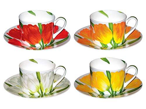 Taitu Freedom - Tazas de café / té m/U, 4 unidades, tulipanes