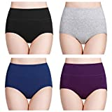 wirarpa Womens High Waisted Cotton Underwear Soft Full Brief Panties Ladies No Ride Up Underpants 4 Pack Assorted Solid Color Size X-Large