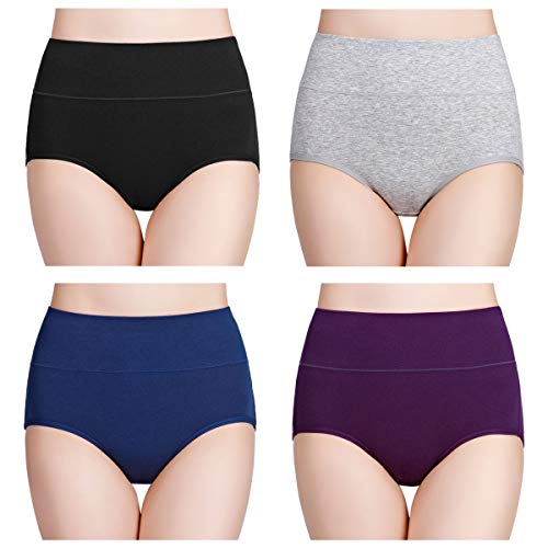 wirarpa Multipack Cotton Knickers for Women High Waisted Underwear , XX-Large (22-25), Multicolor-4 Pack