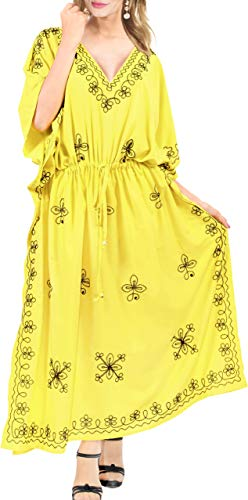 LA LEELA damski duży rozmiar kaftan sukienka nocna strój kąpielowy zakrycie sukienka haft