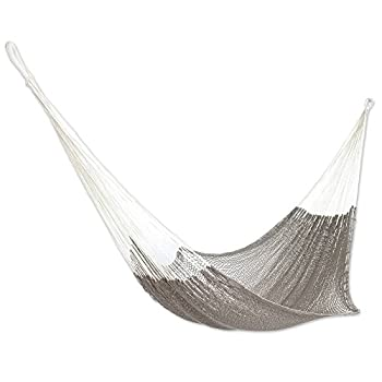 NOVICA Grey Hand Woven Cotton Mayan 1 Person Rope Hammock with Hanging Accessories Ashen Beach   Single