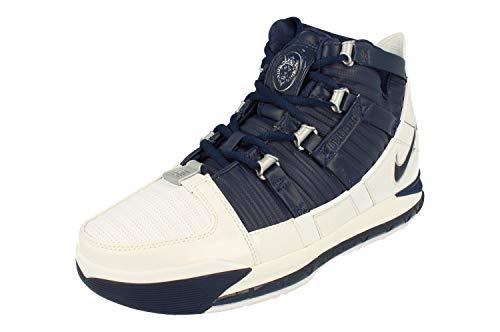 Nike Zoom Lebron III QS Herren Hi Top Basketball Trainers AO2434 Sneakers Schuhe (UK 7.5 US 8.5 EU 42, White Midnight Navy 103)