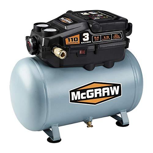 3 Gallon 1/3 HP 110 PSI Oil-Free Hotdog Air Compressor