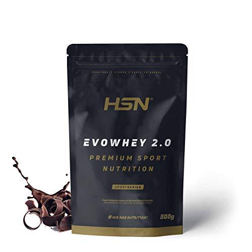 Concentrado de Proteína de Suero Evowhey Protein 2.0 de HSN | Whey Protein Concentrate| Batido de Proteínas en Polvo | Vegetariano, Sin Gluten, Sin Soja, Sabor Chocolate, 500g