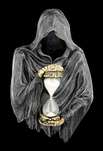Figuren Shop GmbH Reaper Gothic-Wandrelief mit Sanduhr in der Hand - Sands of Time | Fantasy Sensenmann, Dekoartikel, handbemalt
