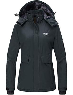 Wantdo Women's Warm Rain Jacket Waterproof Snowboarding Winter Coat Dark Gray M