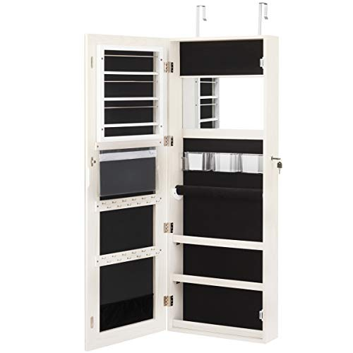 Giantex Jewelry Armoire Wall Door Mounted, Lockable Jewelry Cabinet with Full Screen Display View Larger Wider Mirror 16'', Large Capacity Jewelry Organizer Jewelry Box with Full Length Mirror (White)