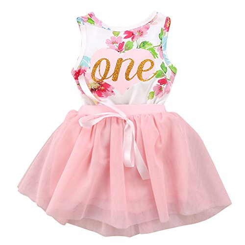 ODASDO Newborn Baby Girl 1st Birthday Outfit First One Year Birthday Party Princess Dress Toddler Kids Gold One Sleeveless Floral Romper Pink Tutu Skirt Cake Smash Photo Shoot 2pcs Clothes Set 6-12M