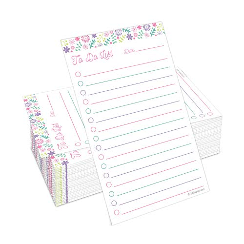 321Done to Do List Cards 3' x 5' (Set of 100) Vertical Index Cards, Double-Sided Notecards with Date to-Do Checklist - Thick Card Stock - Made in The USA, Floral Pastel