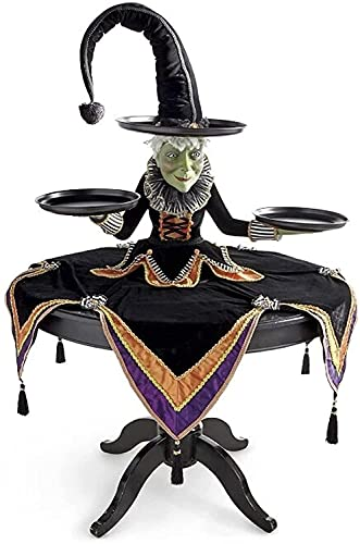 Joyeweldam Soporte de exhibición de la bruja de la magdalena de Halloween,Servidor de mesa de bruja con mantel arlequín,Artesanía de resina para fiestas de decoración de restaurantes