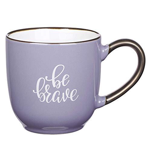 Be Brave Purple Coffee/Tea Mug, Ceramic Encouraging and Inspirational Coffee Cup for Women, 12oz