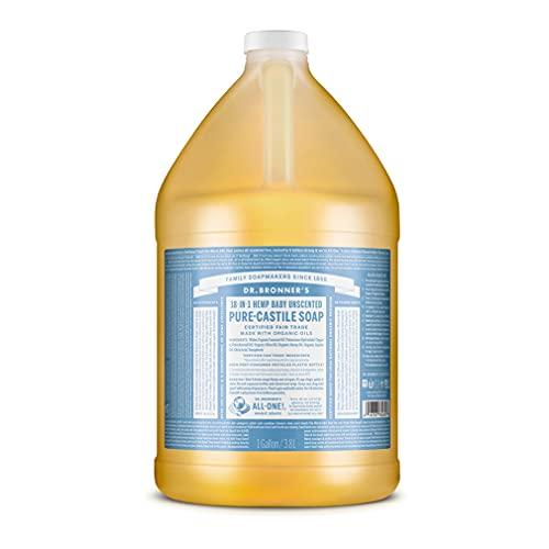 Dr. Bronner - Castilla jabón suave para bebés sin perfume, 1 galón líquido