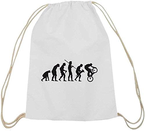 Shirtstreet24, EVOLUTION BMX, Bike Sport Baumwoll natur Turnbeutel Rucksack Sport Beutel, Größe: onesize,weiß natur