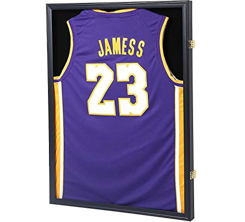 PKaL Jersey Display Frame Case, Large Lockable Shadow Box Sports Jersey Frame with 98% UV Protection Acrylic and 2 Hanger for Baseball Basketball Football Soccer Hockey Shirt ,Uniform, Graduates