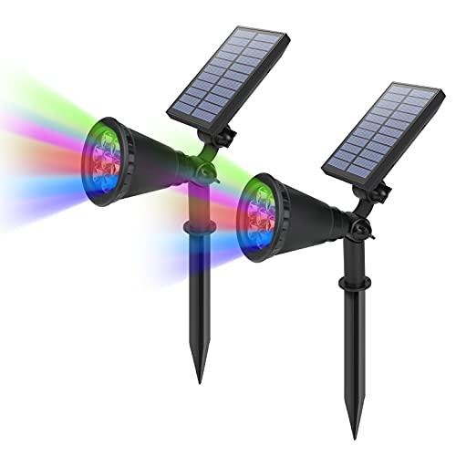 2X LED Luz Solar Exterior Jardin RGB HOMEOW IP65 Impermeable Lámparas Solares Ajustable 7 Colores Iluminacion Exterior Solar 2 en 1 Luces Focos Solar Jardin para Césped Terraza Carril Patio Pasillo