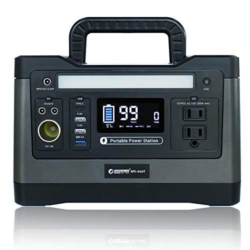 グッドグッズ(GOODGOODS) ポータブル電源 大容量 家庭用蓄電池 540Wh 150000mAh 純正弦波 LED照明ランプ付 AC(500W) /DC/USB/Type-Cなど出力 車中泊 アウトドア 防災グッズ 停電時に SPI-54AT