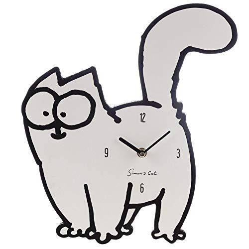 Simon's Cat Wanduhr - weiß, Bedruckt, aus MDF Holzfasermaterial, im Sichtkarton.