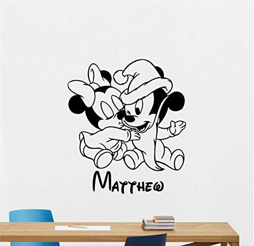 MUXIAND Aangepaste Naam Lijm met Muis Ontwerp voor Muur Kids Kamer Slaapkamer Ontwerp Muur Art Slaapkamer Ideeën Decor Mural Muursticker 58x66cm