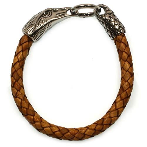 WAVEPIRATE® Echt Leder-Armband Edelstahl Eagle Adler Cognac 25 cm Edelstahl-Verschluss in Geschenk-Box Herren