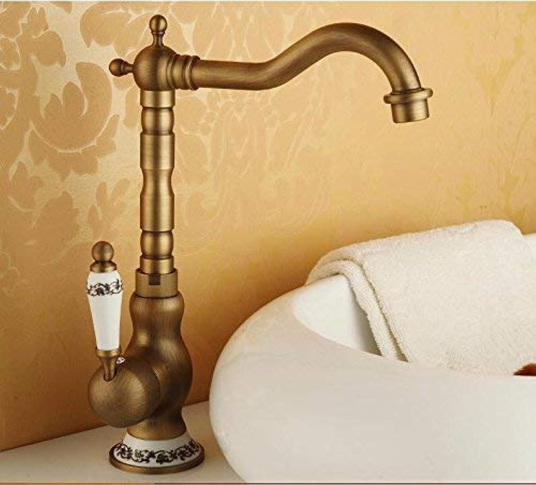 Ywqwdae Europischer Retro-Stil-Waschtisch Warmes und kaltes Einzelloch Erhhen die hohen Sink-Armaturen aus Kupfer