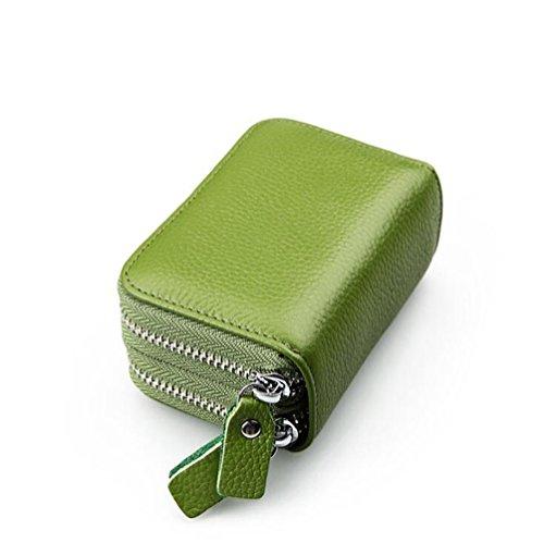 AprinCtempsD Porta Carte di Credito in Vera Pelle Portafoglio Piccolo Protezione RFID Portamonete Cerniera per Donna Uomo(Verde)