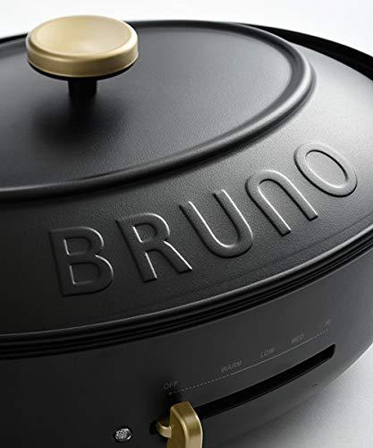 BRUNOブルーノオーバルホットプレート本体プレート3種(たこ焼き深鍋平面)ブラックBlack黒おすすめおしゃれかわいいこれ1台一台蓋ふた付き1200w温度調節洗いやすい1人2人3人用小型ひとり暮らしにも父の日プレゼントギフト贈り物BOE053-BK