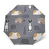 Ombrello Portatile Automatico Antivento, Ombrello Pieghevole Compatto, Folding Umbrella, Baldacchino Rinforzato, Impugnatura Ergonomica, Adorabile roditore Pet