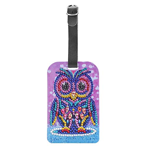 Prosperveil PU Leather Luggage Tags DIY Diamond Painting Travel Suitcase Tags with Name ID Address Tag Labels Baggage Rucksack Handbag Bag Tags for Kids Women Men (Purple and Pink Owl)