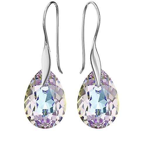 925 Sterling Silver Earrings with Swarovski Crystals - Pear - Vitrail Light - Hooks for Women - Beautiful Jewellery for Women with Gift Box