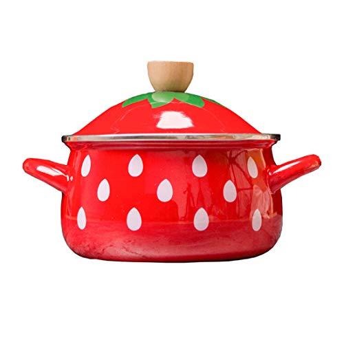 JMAHM Emaille-Pastatopf, antihaftbeschichtet, Milchtopf, für Tee, Kaffee, Eier, Kochtopf, Suppentopf, Erdbeer-Design, mit Griff, großes Fassungsvermögen, mit Deckel Suppentopf in Erdbeerform.