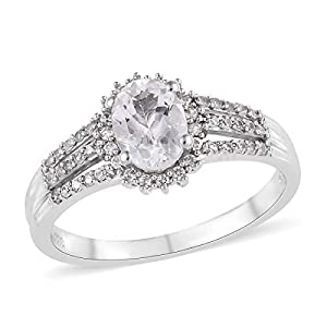 925 Sterling Silver Promise Ring Platinum Plated Goshenite Zircon for Women Jewelry Mothers Day Gifts Size 8 Cttw 1.3