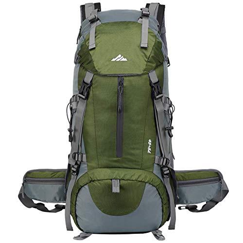 Lukasa Zaino da Trekking 50L, Uomo Donna 45L + 5L Zaino Impermeabile Zaino da Trekking da Viaggio da Escursionismo Esterno con parapioggia per Escursionismo, Alpinismo e Sport di Viaggio Verde
