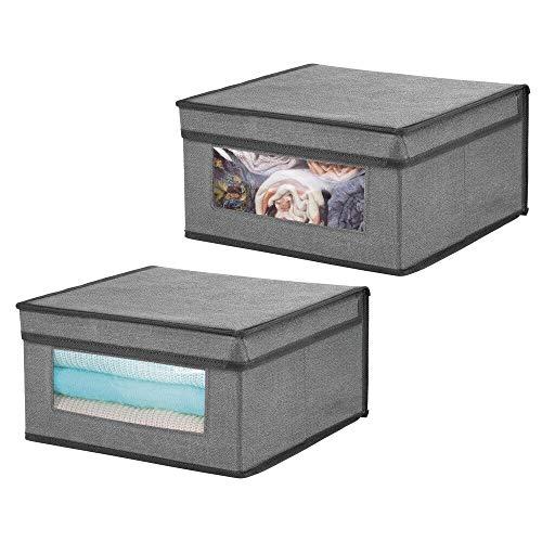 mDesign Set da 2 Contenitori con coperchio – Contenitori portaoggetti per cassetti con finestra – Organizer per armadi in fibra sintetica di media grandezza per biancheria – grigio scuro/nero