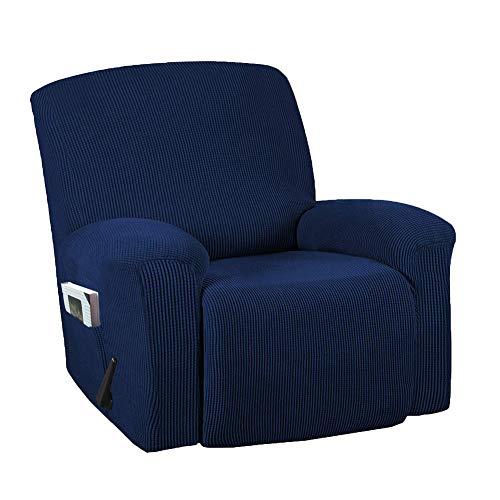 Funda elástica para silla mecedora de color sólido y todo incluido, funda protectora para sofá, funda de sofá de tela gruesa, para proteger el sofá (azul marino)