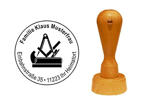 Stempel Holzstempel Adressstempel « TISCHLER ZEICHEN » Durchmesser ca. Ø 40 mm - mit persönlicher Adresse und Motiv - Schreiner Holzbearbeitung Tischlerei Zunft