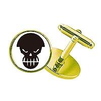 怒った汚染は人間の骨格のヘルメット スタッズビジネスシャツメタルカフリンクスゴールド