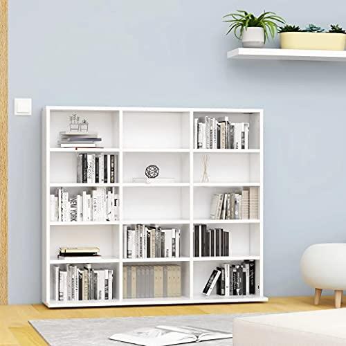 vidaXL Estantería para CD Aparador Armario Mueble Mostrador Organizador Almacenamiento Salón Casa Hogar Aglomerado Blanco 102x23x89.5 cm
